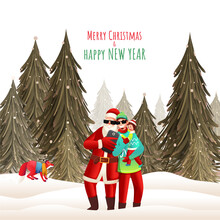 Illustration Of Santa Claus Taking Selfie With Cartoon Man Holding His Son And Fox Animal On Snowy Forest Background For Merry Christmas & New Year.