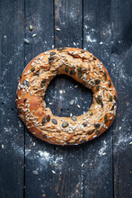 A Bread Wreath With Sunflower Seeds And Pumpkin Seeds