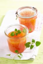 Homemade Rhubarb And Orange Jam With Lemon Balm