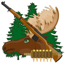 Head Moose With Horn And Weapon On Background Wood