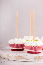 Strawberry Ice Cream Popsicle Lollies With Whipped Cream Frozen In Muffin Molds