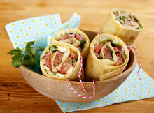 Vegetarian Wraps With Tomato, Olive, And Sheep's Cheese Filling