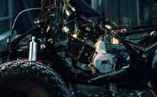 Engine, ATV Wires. Red Brackets. Repair Of ATVs. Disassembled ATV. 4x4