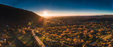 Panoramic View Of The Sunrise In The Mountains Hdr With Trees And Roads With Blue Sky