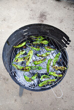 Green Peppers On A Barbecue