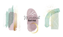 Abstract Watercolor Painting With Gold Violet Mint Green Geometric Minimalist Shapes. Vector Pastel Strokes, Foil Texture, Tender Background. Boho Aesthetics