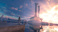 Rocket On A Spaceship Launch Ramp  With Destination Mars For Exploring And Tourism Purpose On The Red Planet And The Pilot Astronaut Horizontal - Concept Art - 3D Rendering