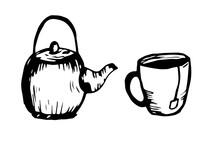 One Hand Drawn Mug With Tea Ba...
