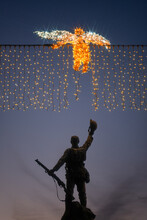 Soldier And Angel Christmas Lights Lest We Forget Statue