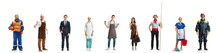 Group Of People With Different Professions Isolated On White Studio Background, Horizontal. Male And Female Models Like Accountant, Butcher, Doctor, Businessman, Miner, Barmen, Housemaid, Sailor