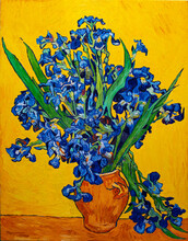 Oil Painting On Canvas. Vase With Irises On A Yellow Background. Free Copy Based The Famous Painting By Vincent Van Gogh