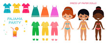 1430_Dress Up Paper Doll. Cute Chibi Girl Character In Pajamas For Pajama Party. Flat Cartoon Style