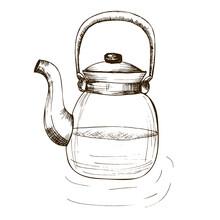 Ntage Hand Drawn Teapot On White Background