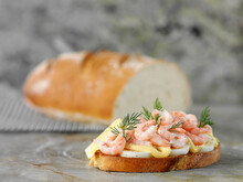 Italian Country Bread Topped With Egg, Shrimp And Mayonnaise