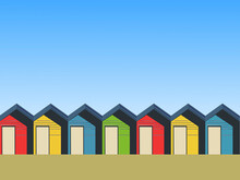 Illustration Of Colourful Beach Huts