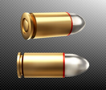 Bullets Side And Rear View. Copper Or Gold Colored Nine Mm Shots With Steel Head For Parabellum. Military Handgun Ammo Weapon Metal Gunshots Isolated On Transparent Background Realistic 3d Vector Icon