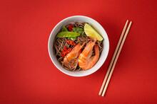 Asian Stir Fry Soba Noodles With Shrimps, Vegetables, Green Peas, Red Pepper