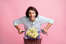 Photo Of Young Happy Smiling Excited Good Mood Man Male Guy Ride Bicycle Isolated On Pink Color Background