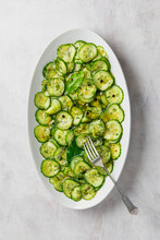 Quick Sweet Vinegar Pickle Sliced Cucumber Salad With Dill, Peppercorn, Bay Leaves And Mustard Seeds