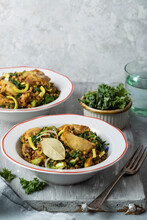 Polish Buckwheat Risotto With Chicken Thighs, Leek And Kale