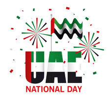 Uae National Day With Flag And...