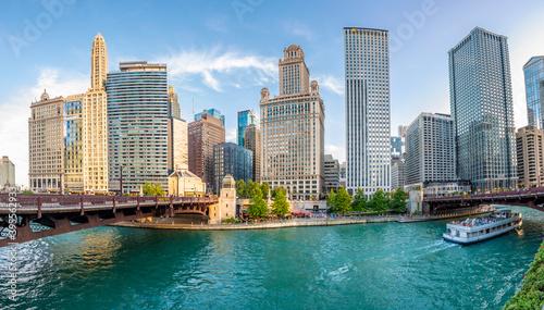 Fotografiet Chicago City riverside view in USA