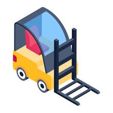 Forklift, Editable Vector Of Bendi Truck