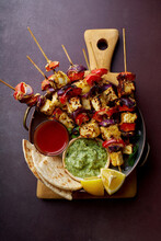Grilled Onion And Pepper Paneer Skewers With, Flatbread, Chilli And Peppermint Sauce