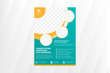 Abstract Flyer Template Design With Circle Space For Photo. Vertical Layout Use Modern Geometric Style. Soft Green Background With Orange Element And White Text.