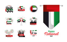 Uae National Day Set Icons Des...