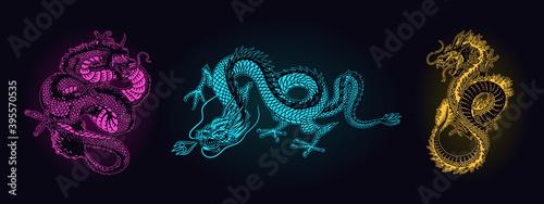 Leinwand Poster Japanese neon dragon