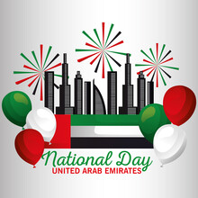 Uae National Day With Flag Fir...