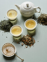 Various Types Of Japanese Green Tea As Tea Leaves And Brewed