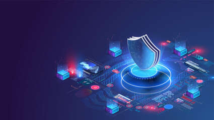 Panel Szklany Koszykówka Network data security isometric. Online server protection system concept with data center or blockchain. Data secure. Web crime or virus attack. Symbol of protection. Hacking concept. Vector