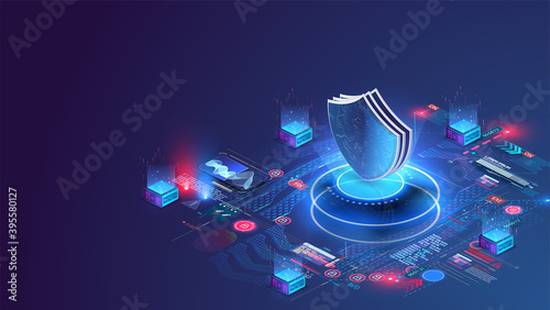 Foto Network data security isometric