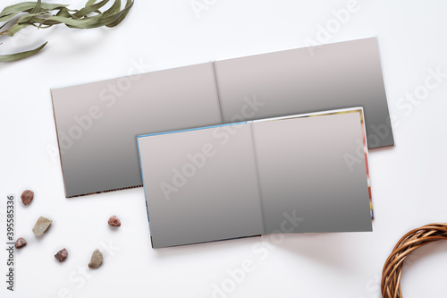 Two open photo books with hardback and blank pages, green twig and small stones isolated on white studio background Fototapeta