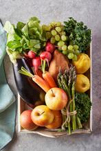Seasonal Organic Fruit And Vegetable Basket