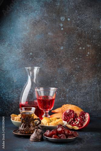 Carta da parati Ramadan kareem Iftar meal with dates, baklava, traditional Arabic sweets, fruit,