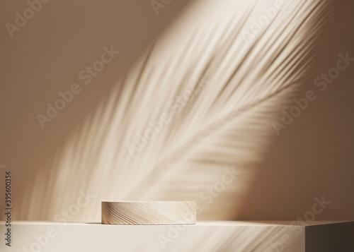 Fotografie, Obraz 3D background, wood pedestal podium on natural palm leaf shadow pastel beige backdrop