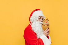 Funny And Cute Santa Claus Is Hugging A Stuffed Reindeer Toy, Showing The Toy To The Viewers. Amusing Santa Is Playing With A Teddy On A Yellow Background.