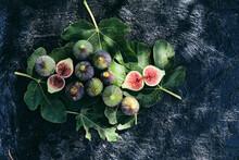 Fresh Figs On A Dark Background