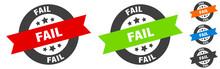 Fail Stamp. Fail Round Ribbon Sticker. Tag