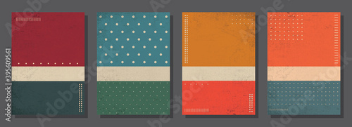 Fototapeta Set of retro covers. Cover templates in vintage design. Abstract vector background template for your design. Retro design templates set for brochures, posters, flyers, banners, covers, placards. obraz na płótnie
