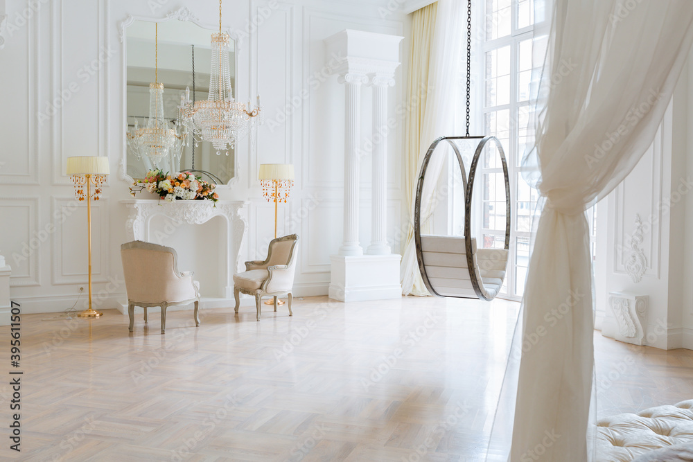 Fototapeta modern light clean rich baroque style interior with swing