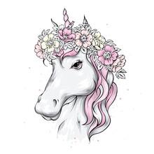 Beautiful Unicorn In A Flower ...