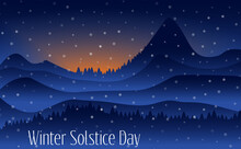 Vector Illustration Of The Longest Night In The Year. Winter Solstice Day In December The 21. Greeting Card Design Template. The Dark Sky With Sunset Or Sunrise.