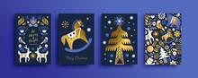 Christmas Nordic Folk Gold Luxury Animal Card Set