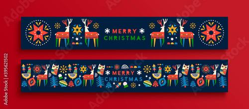 Fotomural Merry Christmas folk animal banner cartoon set