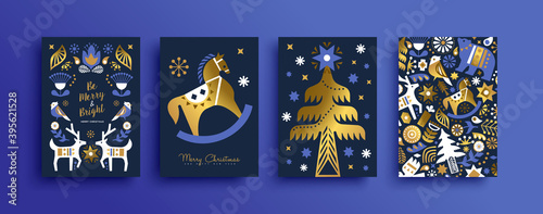 Fotografie, Tablou Christmas nordic folk gold luxury animal card set
