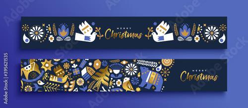 Christmas nordic folk gold luxury banner set Fototapet